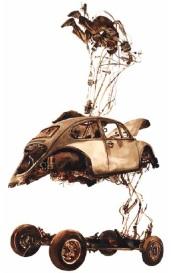 Lukisan Muhammad Taufiq (Emte) untuk puisi Menjadi Kemacetan di buku puisi Melihat Api Bekerja